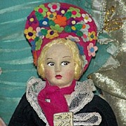 All Original Tagged Mardis Felt Boudoir Doll 1920/1930, 14""
