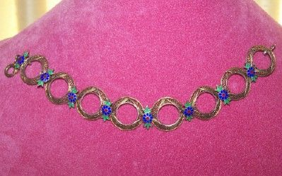 Enamel Flowered Filigree Bracelet