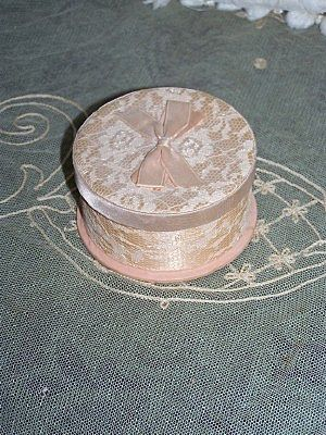 Vintage Peach Lace and Satin Box