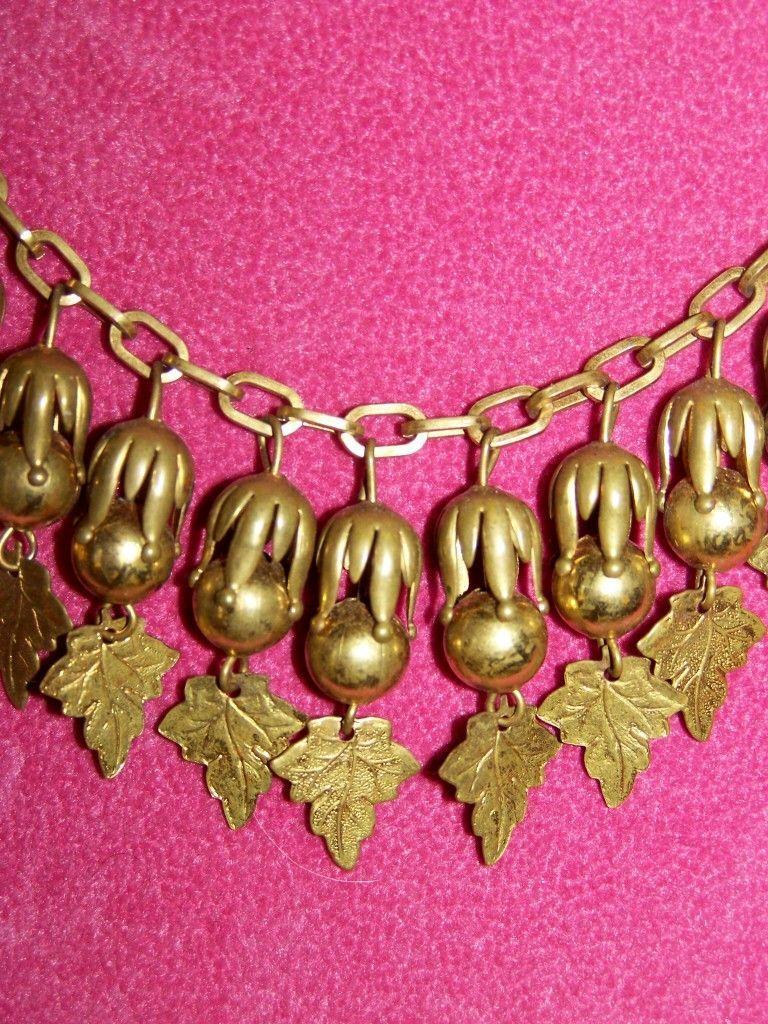 Rare Art Nouveau Brass Leaf Necklace