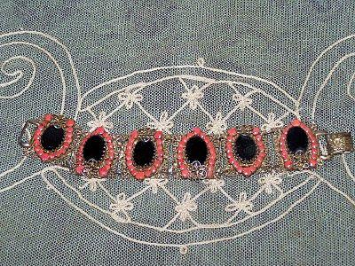 Mid-Century Costume Bracelet Openwork Black and Orange Stones