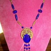 Czech Flapper Dark Blue Beaded Slip Over Necklace