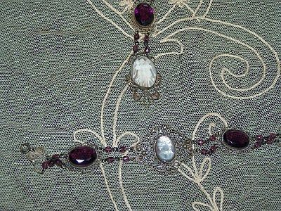 Victorian Revival Cameo Demi-Parure Mother of Pearl Filigree Necklace & Bracelet