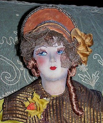 """30"""" French Silk Face Red Haired Boudoir Doll"""