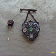Deco Glass and Metal Overlay Perfume Heart Pin, Probably Czech