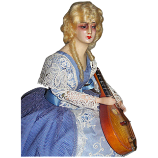 Deco French Wax Half Doll With Mandolin Tagged