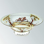 c.1930s Steinscönau Hand painted Historismus Glass Bowl With Hunting Scene