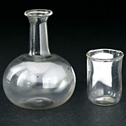 Victorian Dolls House Clear Glass Water Bottle Decanter Jug & Drinking Glass Tumbler