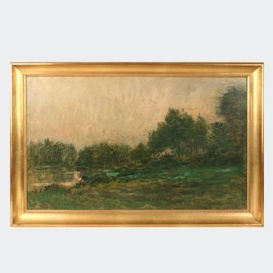 Mid 1860s-70s Daubigny Oil Sketch on Wood: River Bank and Trees