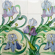 c.1905 Spectacular Hemiksem Belgium Art Nouveau 12 or 24 Tile Iris Panel, Multiple Panels Available