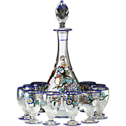 c.1930s Sèvres Landier Enamelled Decanter & Glasses Set