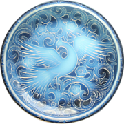 Late 1920s Early 30s Large Pierre D'Avesn Deco Opalescent Glass Bird Of Paradise Charger, Signed