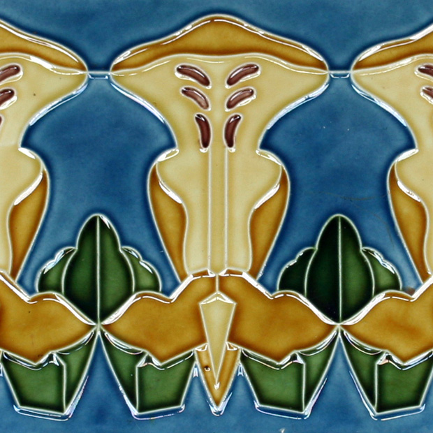 c.1905 MO&PF German Art Nouveau Three Tile Stylised Botanical Set, Framed