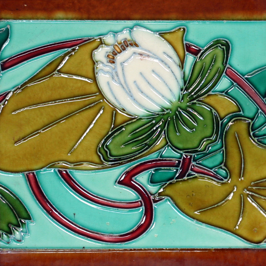 c.1905 Hemiksem Gilliot Belgian Art Nouveau Two Tile Lily Set, Framed
