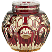 c.1930s Val St. Lambert Amethyst Over Topaz Zinia Crystal Vase Flower Holder #2, Joseph Simon