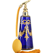 c.1900 Richly Gilded Cobalt Glass Dressing Table Scent Perfume Spray Atomizer, Probably Baccarat