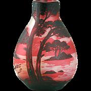 c.1910 De Ves Cristallerie De Pantin Double Overlay Cameo Cut Vista Vase