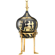 Early 20th Century Japanese Damascene Perfume Scent Bottle With Egyptian Theme