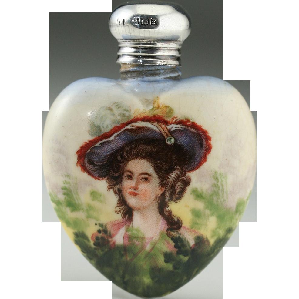 1905 Porcelain Scent Perfume Bottle With Portrait Motif