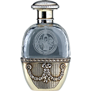 c.1880 French Crystal Spirit Flask In Silver Gilt Holder, Similar To Scent Perfume Bottle