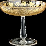 c.1900 Intaglio Cut & Gilded Glass Tazza Compote