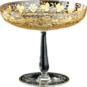 c.1900 Intaglio Cut & Gilded Glass Tazza Compote