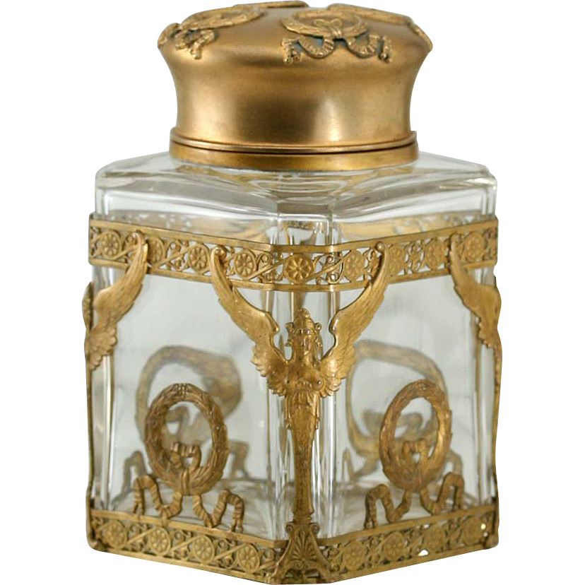 c.1880 French Empire Cut Glass Tea Caddy Container Jar In Ormolu Mount