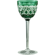 c.1925 Design Val St. Saint Lambert Carlton Emerald To Clear Wine Hock Glass