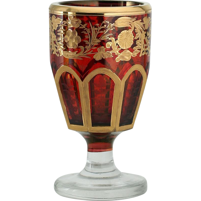 c.1890 Bohemian Flashed Ruby Engraved & Gilded Goblet