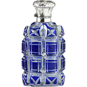 c.1880 Blue Overlay Crystal Scent Perfume Bottle, Embossed Silver Top