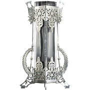 c.1880 Empire Style Cut Glass Tall Vase In Ornate Plated Holder