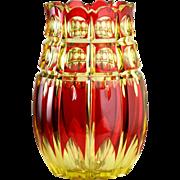 c.1930s Val St. Lambert Cranberry Over Uranium Crystal Vase