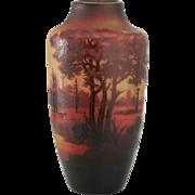 c.1920s D'Argental Double Overlay Cameo Cut Vista Vase