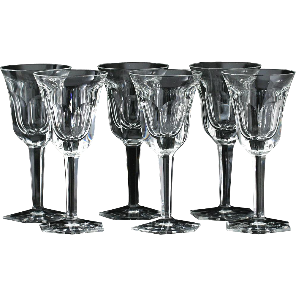Set Of Six Moser Pope Cut Crystal Wine Glasses