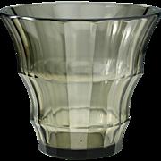 c.1910-20 Smoky Olive Modernist Vienna Cut Glass Vase, Probably Josephinenhütte