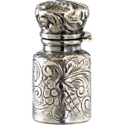 c.1900 Foliate Embossed Miniature Silver Scent Perfume Bottle