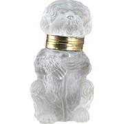 c.1920s Dinmont Terrier Pressed Glass Inkwell