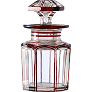 c.1900 German Flashed Ruby Glass Dressing Table Scent Perfume Bottle #1
