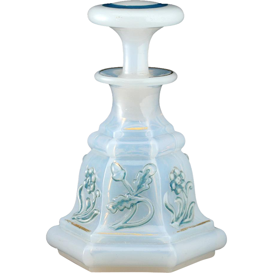 c.1880 Bohemian Milk Glass Opaline Scent Perfume Bottle With Moulded Decoration