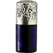 c.1880 Miniature Cobalt Glass Scent Perfume Bottle, Silver Top