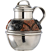 1894 Silver Scent Perfume Bottle Jug Pitcher With Scottish Hardstone Decoration