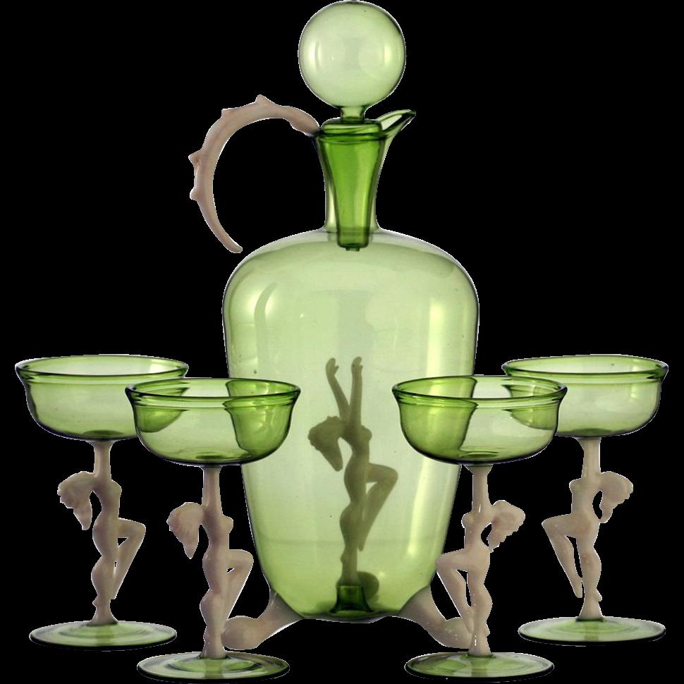 c.1940s-50 Bimini Nudes Sea Green Deco Decanter & Glasses Set