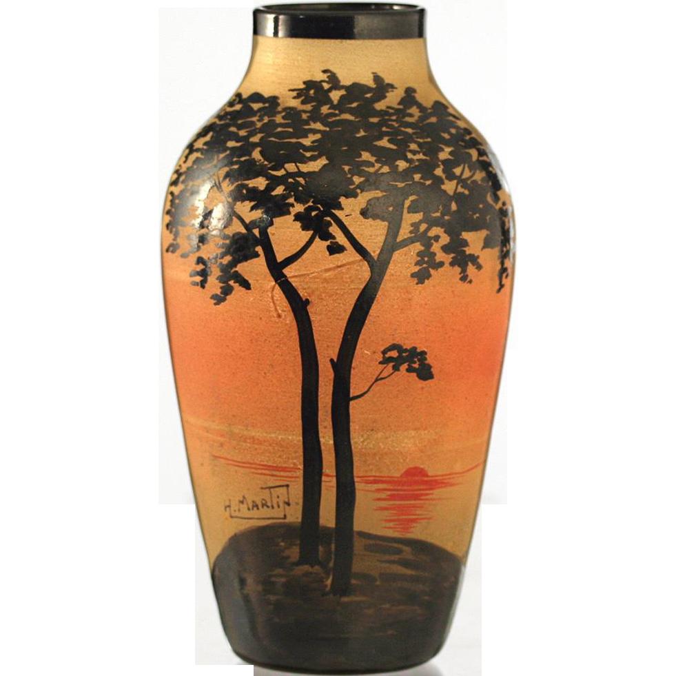 c.1920s Hand Enamelled French Glass Vase, Signed H. Martin