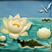c.1905 Art Nouveau Two Tile Water Lily & Dragonfly Set, Bendorf Germany, Framed