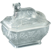 c.1907 Vallérysthal Moulded Glass Dog On A Rug Sucrier Box & Cover