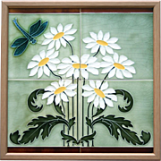 c.1910 Framed Continental Art Nouveau Four Tile Dragonfly Panel