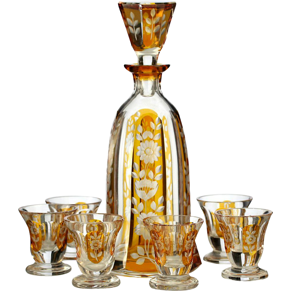 c.1930s Josephinenhütte Amber Flashed Crystal Deco Decanter & Glasses Set
