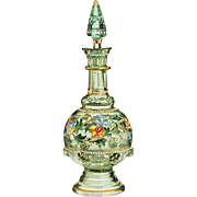 c.1870 enamelled glass scent perfume bottle, probably Fritz Heckert