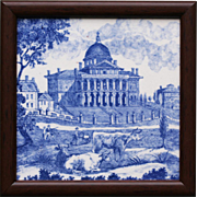 c.1895 Mintons Boston State House 1818 blue & white tile, framed