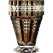 Rare c.1930s Val St. Lambert clear over brown inside cased and cut crystal vase, Joseph Simon